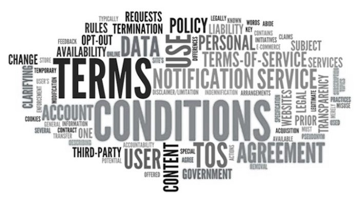 Word Cloud with Terms and Conditions related tags